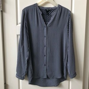 H & M Navy and White Striped High-Low Blouse sz 8